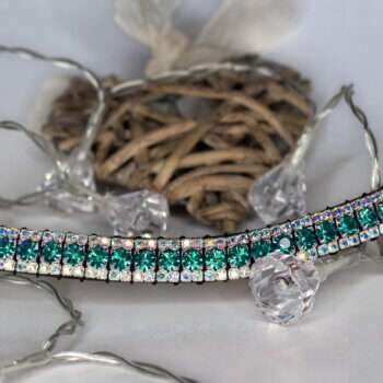 Teal browband surrounded by crystal lights and a love heart