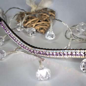 Violet browband teamed with AB iridescent crystals handmade English browband