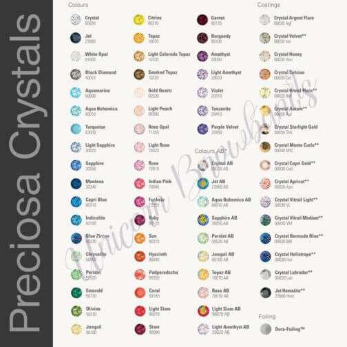 Czech Preciosa Crystal Browband Colour Chart