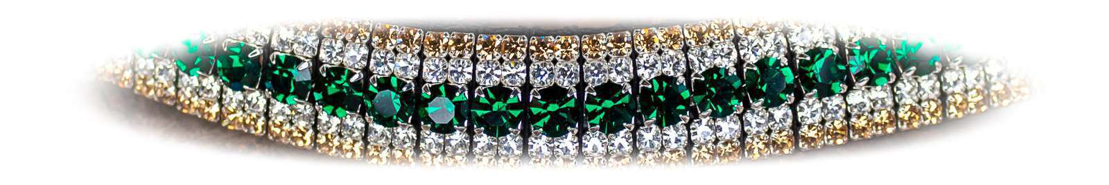 Green crystal bling browbands by Unicorn Browbands