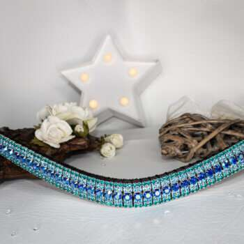 Bright Blue Browband with a white star light and white roses with wooden ornaments