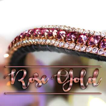 Real Rose Gold Browband, Special Edition with Rose Pink & Clear Crystals