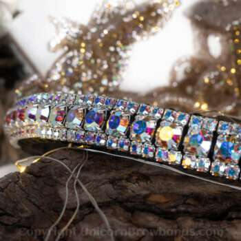 Hand Made Crystal Unicorn Browbands Full AB iridescent 3 row bling browband