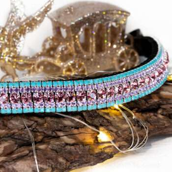 Turquiose and pink megabling crystal 5 row bling browband with Preciosa crystal and hand stitched English leather