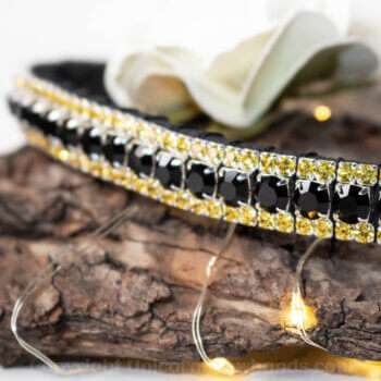 Golden Yellow and Black Crystal Browband