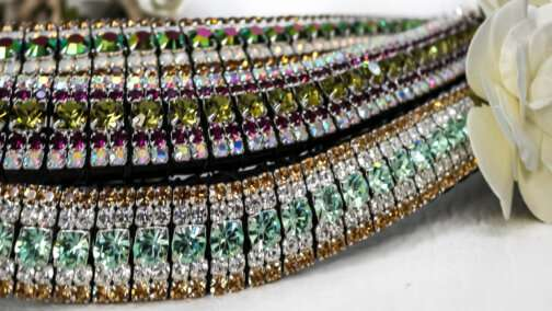 Green megabling 5 row crystal bling browbands handmade with English Sedwicks leather and luxury Preciosa crystals