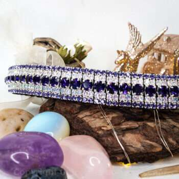 purple horse browband for dressage sitting on tree bark with healing crystals