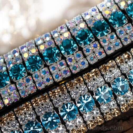 Blue Mega Bling Browbands Handmade by Unicorn Browbands from English Sedgewicks Leathe & Czech Preciosa Crystal