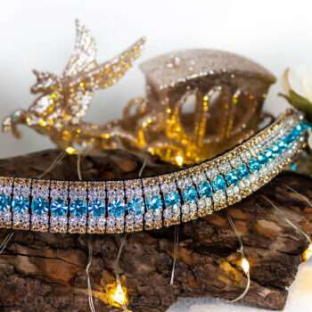 Luxury handmade blue and gold crystal browband by Unicorn Browbands for dressage, showjumping, horse shows, riding clubs and more!