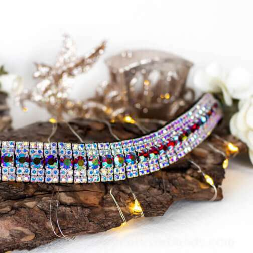 iridescent red and iridescent clear luxury Preciosa crystal bling browband in 5 row Megabling style handmade on hand stitched English Sedwick leather and Czech Presiosa Crystals y Unicorn Browbands
