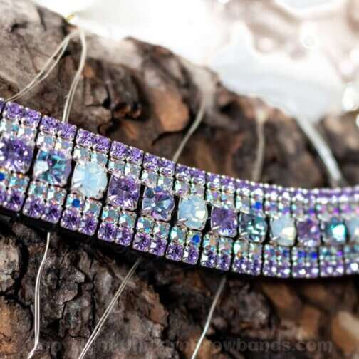 Pastel unicorn browband crystal browband for horses in magabling style. Czech Preciosa crystals and English Sedgwicks leather all totally handmade in the UK