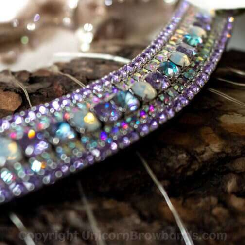 Amazing clear, purple and opal Unicorn Browband made with luxury Preciosa crystals
