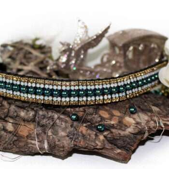 Blue green peacock nacre pearl browband teamed with white opals and gold for contrast from Unicorn Browbands Peacock collection