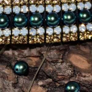 Peacock blue and green Preciosa browband for horses
