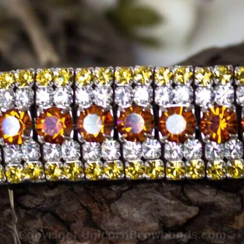 Luxury Preciosa crystal browbands in orange lava, clear and yellow crystals by Unicorn Browbands