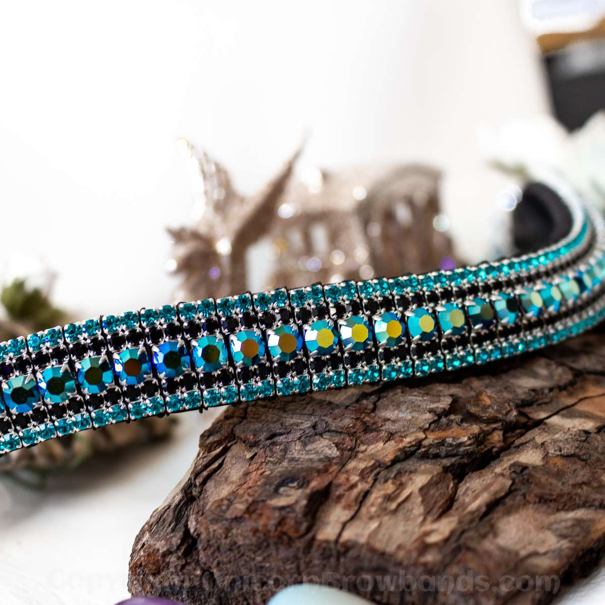 iridescent black browband with blue edging - Unicorn Browbands hand made browbands