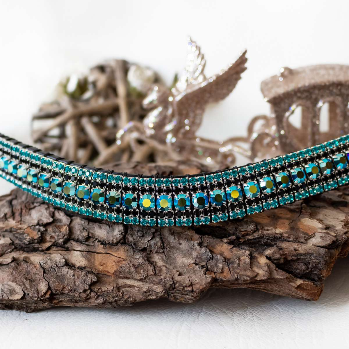 Jet Black AB and blue crystal browband, colour changing iridescent Preciosa crystals