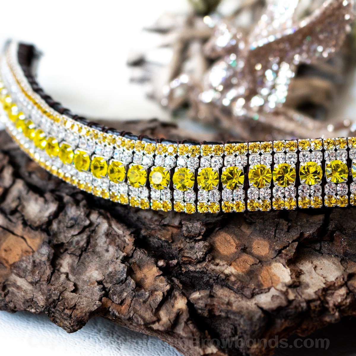 Bright yellow two tone and clear crystal browband