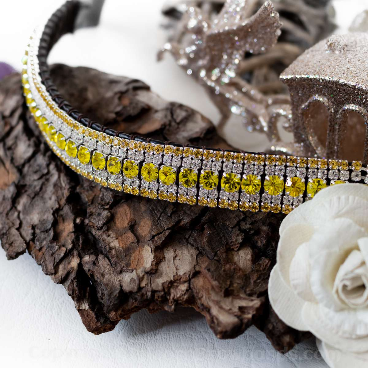 Citrine yellow crystal bling browband for horses