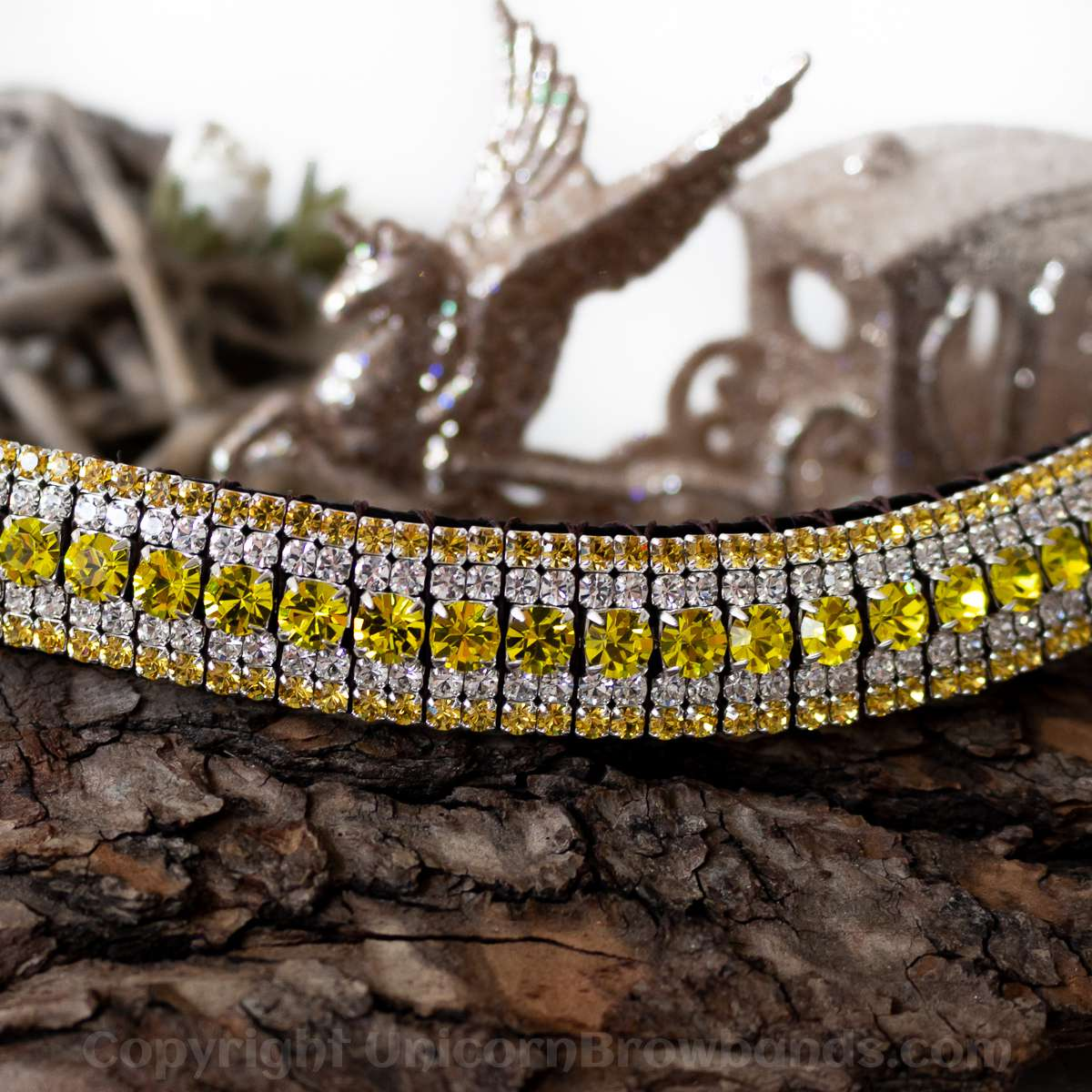 Two tone yellow crystal bling browband by Unicorn Browbands