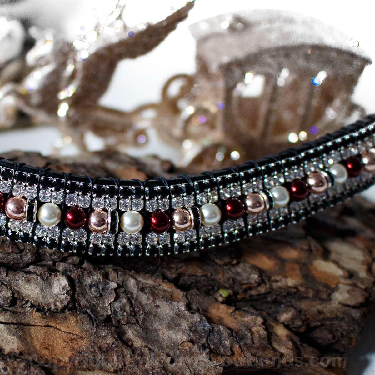 Rose gold & burgundy pearl & crystal bling browband