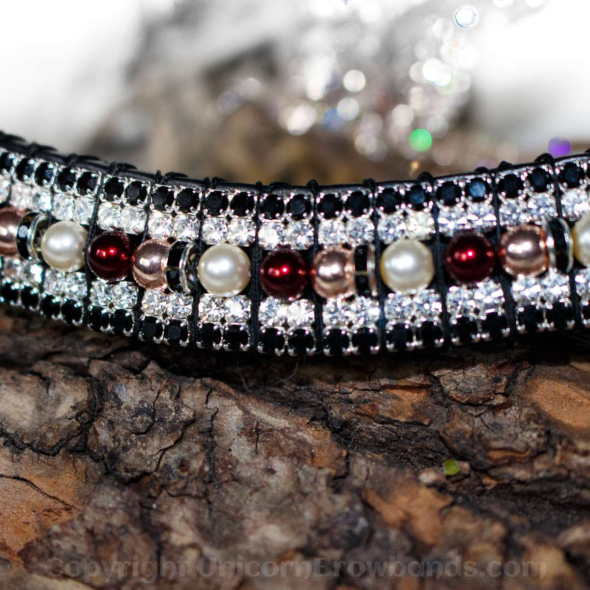 Rose gold & mulberry pearl & crystal bling browband