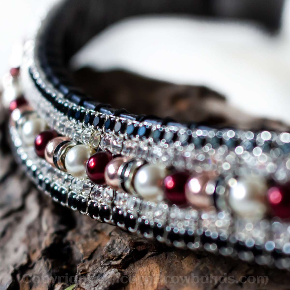 Cream, rose gold & mulberry pearl & crystal browband