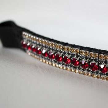 Ruby and Gold Browband on white back drop best quality browbands