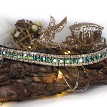 3 row peridot green AB and light gold bling browband. Extra special iridescent colour changing green Preciosa crystals