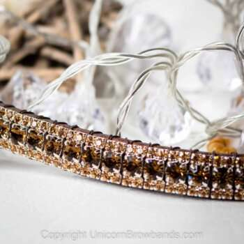 Unicorn Luxury Browbands Rose Gold & Navy 5 Row Crystal Deluxe
